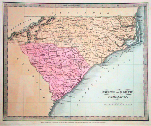 A map showing North and South Carolina in 1834