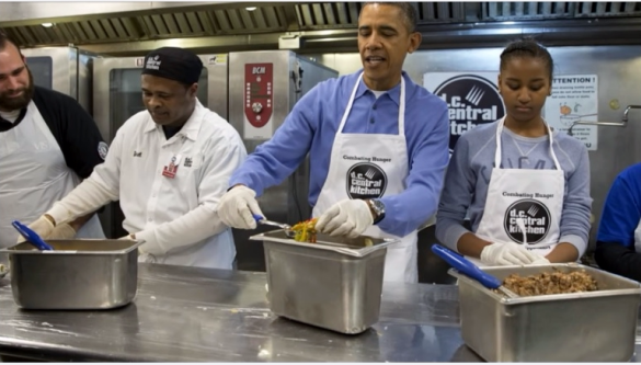 President Obama and younger daughter Sasha help out at DC Central Kitchen on MLK DayI_CNCS video screenshot