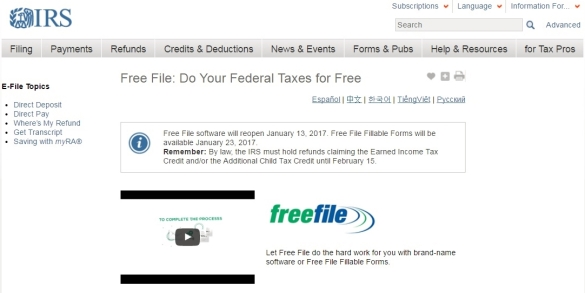 Free File 2017 IRS web page screen shot opening day Jan 13