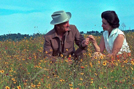 LBJ and Lady Bird enjoying Texas wildflowers_Lady Bird Johnson Wildflower Center