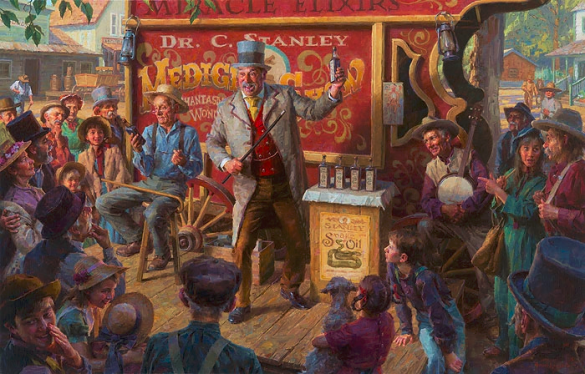 The Snake Oil Salesman painting by Morgan Weistling_Artifacts Gallery
