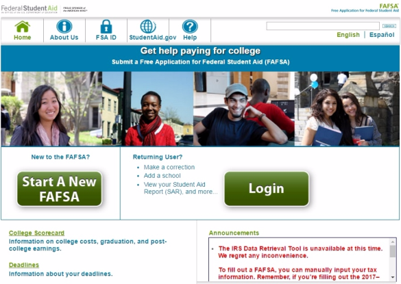FAFSA notice that IRS data tool is offline