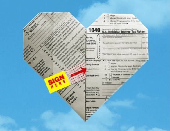 Love and Taxes form 1040 heart
