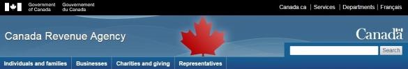 Canada Revenue Agency banner