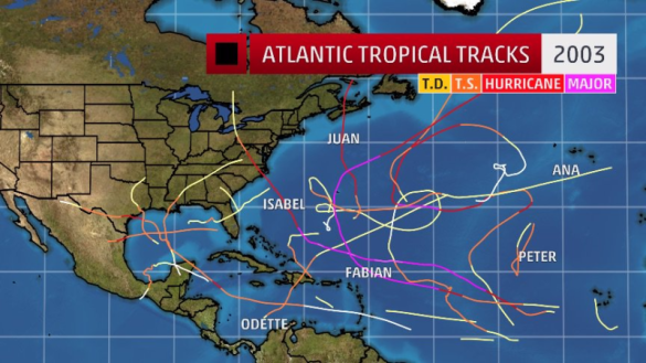 Atlantic tropical storm tracks 2003_The Weather Channel Twitter