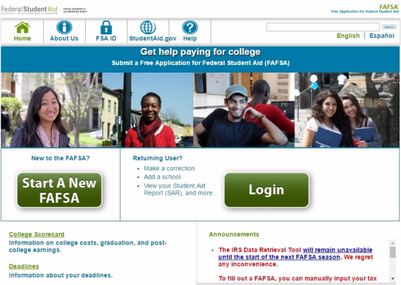 FAFSA IRS Data Retrieval Tool not available notice