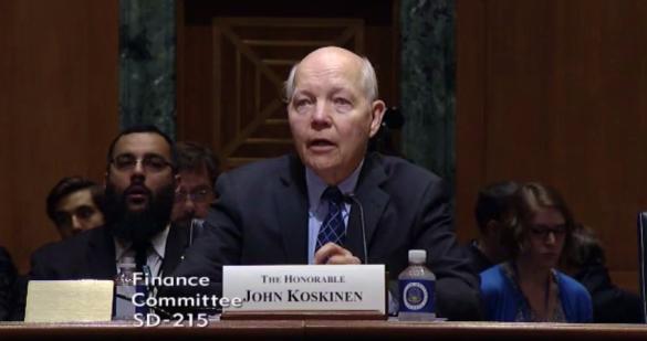 IRS Commissioner John Koskinen testifying at Senate Finance Committee hearing April 6 2017
