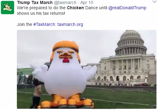 Trump chicken being inlfated on US Capitol grounds via Tax March Twitter_click for video