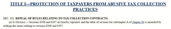Taxpayer protection act debt collector repeal excerpt HR 2171