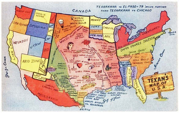 Texans map of the USA