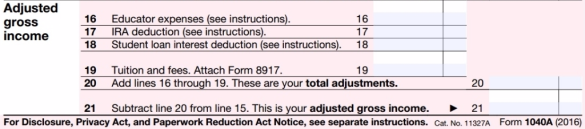 Form 1040A above the line deductions 2016 tax year