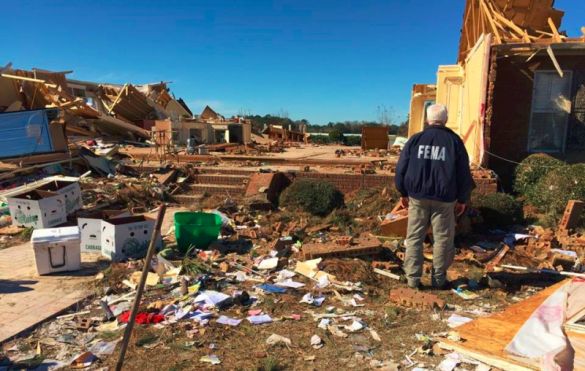 FEMA worker assesses damage in Georgia from late January 2017 storms-tornadoes_FEMA Facebook