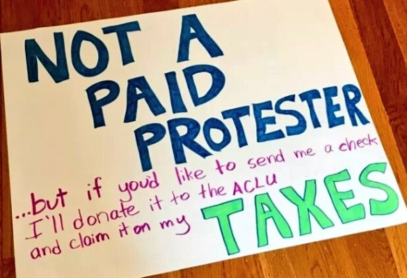 Not a paid protester Tax March sign via The Hummingbird on Twitter
