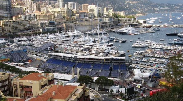 Grandstands in front of Monaco harbor for Formula 1 race_AmyMaria via Flickr