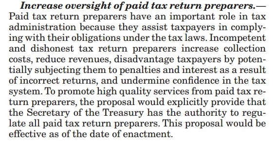 Trump FY2018 budget re increased oversight of tax preparers
