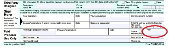 PTIN highlighted on 1040 form