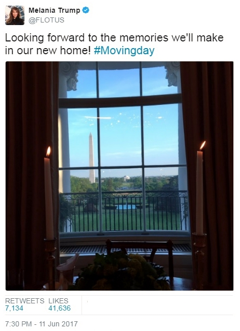Melania Trump Tweet announcing move into White House June 11 2017