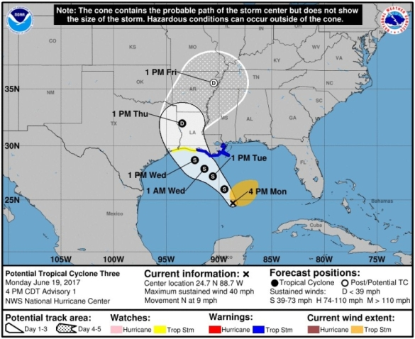 Potential tropical depression-storm-hurricane 2017-3 061917_National Hurricane Center
