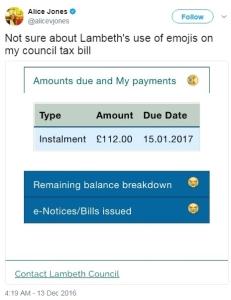 Lambeth council tax bill with crying emoji_Alice Jones via Twitter