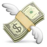 Emoji money flying away