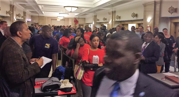 Cook County residents line up to comment on soda tax_Hal Dardick via Twitter