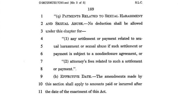 Sexual harassment settlement tax deductions axed in tax reform bill2