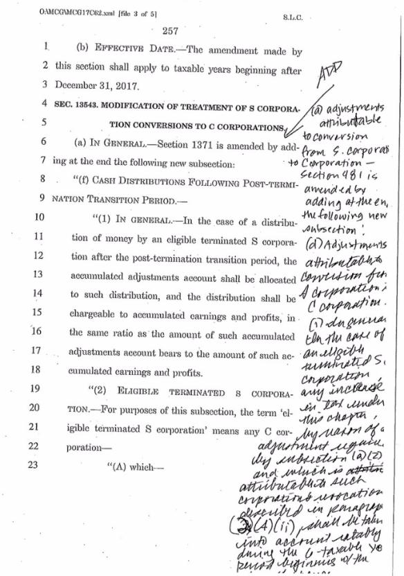 Senate handwritten changes to tax bill_Sen Bob Casey via Twitter